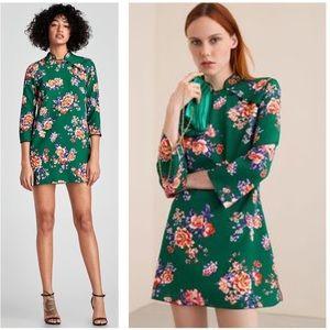 Zara NWT Green Chinese Floral Mini Dress SZ XS